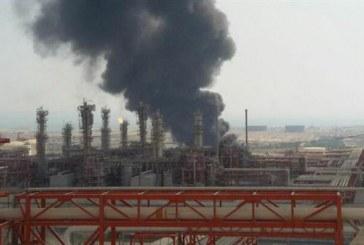 مهار آتشسوزی حوضچه پساب صنعتی فازهای ۱۵ و ۱۶ پارس جنوبی
