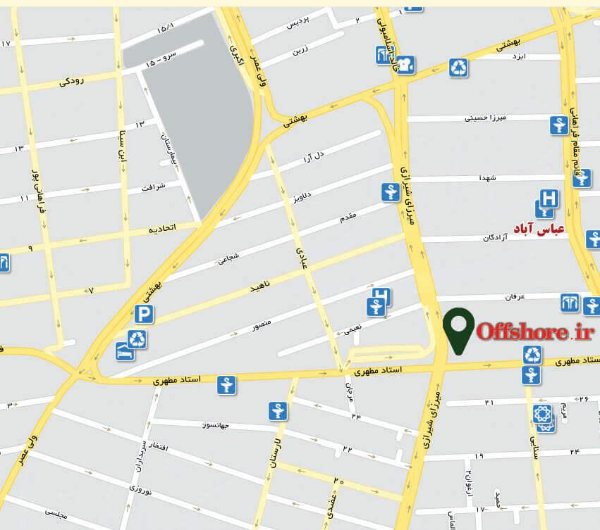 نقشه محل سایت آفشور