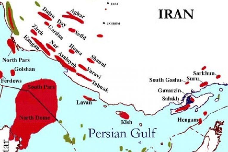 میدان گازی مشترک پارس جنوبی میدان گازی پارس جنوبی برابری برداشت گاز ایران و قطر از پارس جنوبی تا پایان امسال Iran Gas Fields Location Map 765x510