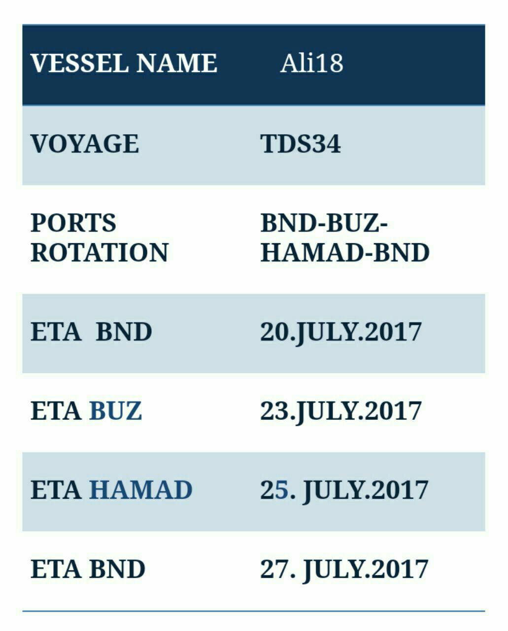 برنامه حرکت کشتی برنامه سفر کشتی برنامه سفر کشتی ALI 18 69